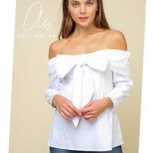KINSLEY Statement Bow White top off the shoulder